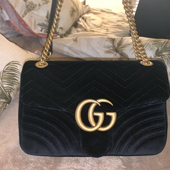 9ad0c194 Gucci GG Marmont 2.0 Matelassé Velvet Shoulder Bag